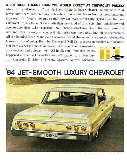 1964 Chevrolet Impala Sport Sedan Coupé Werbung, Jet Smooth Luxury Chevrolet