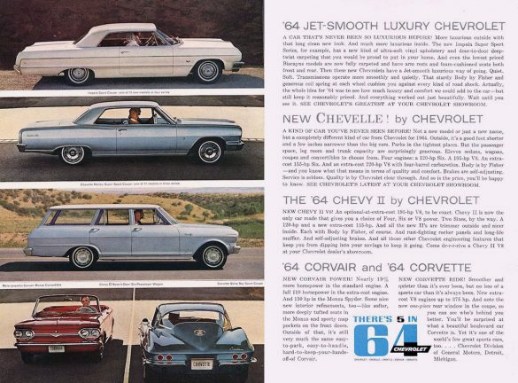 1964 Chevrolet Lineup, Jet-Smooth Chevrolet, All-New Chevelle, Chevy 2, Corvair, Corvette